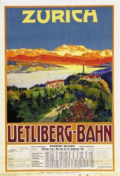 Zurich Uetliberg Bahn Zurich, Swiss Rail, Retro Illustration, Illustrations, Vintage Banner, All Poster, Vintage Travel Posters, Public Transport, Us Travel