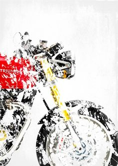 "Motorcycle Splatter Artwork Triumph Thruxton R #Displate artwork by artist ""Steven"". Part of a 13-piece set featuring artwork based on popular motorcycles. £35 / $46 per poster (Regular size), £63 / $84 per poster (Regular size) #Motorcycle #Motorcycles #Motorbike #Motorbikes #Biker #Bikers #BMW #Buell #Ducati #Honda #Kawasaki #KTM #Suzuki #Triumph #Yamaha"