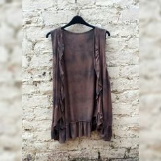 Sleeveless Cardigan Knitted in Mocha & Black Tie Dye to fit UK size 18 US size 14