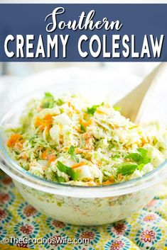 Homemade Southern Creamy Coleslaw recipe is the perfect combination of creamy, sweet, fresh, and tangy. It is quick and easy to make, and has a secret ingredient in the dressing that will make it the best you've ever had! It's my favorite for pulled pork! Easy Family Dinners, Family Meals, Family Recipes, Creamy Coleslaw Dressing, Southern Coleslaw, Homemade Coleslaw, Southern Recipes, Southern Food, Salad Recipes