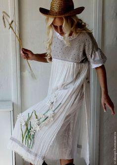 платье бохо колосок - белый,однотонный,жемчужный,серый,Аппликация,цветы: