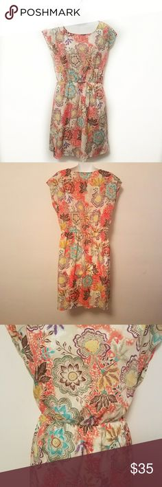 Anthropologie Everly Dress Size Large. Elastic waist. Capped sleeves. Polyester / Rayon blend. Hand wash or dry clean. Like new condition Anthropologie Dresses