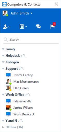 Capture d'écran Liste Ordinateurs et contacts
