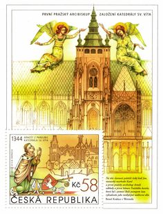 St. Vitus Cathedral - miniature sheet •  A transposition of kneeling Ernest of Pardubice, the first Archbishop of Prague, from his gradual and the first picture of the cathedral from Schedel's World Chronicle (Nuremberg 1494). The miniature sheet displays a stylised picture of today's cathedral with invocating angels designed according to the painting of so-called Kłodzko Madonna. The painting was donated by Ernest to the Augustinian monastery established by him in his birth town.