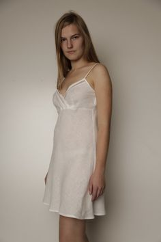 Pure Linen Short Night Gown/Slip Laced by LGlinen on Etsy