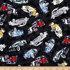 Classic Cottons Classic Cars Allover Black from @fabricdotcom  From Exclusively Quilters, this cotton print fabric is perfect for quilting, crafts, apparel and home decor accents. Colors include black, red, yellow. green, and grey.