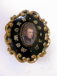Mourning Brooch with Handtinted Portrait, Circa 1870