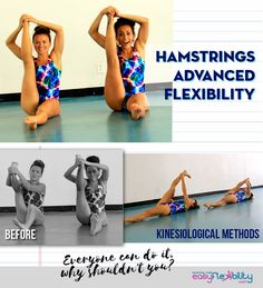 The Advanced Hamstrings program: develops full control and strength in the deep ranges of the hamstrings. the control is expanded to include both the flexors and extensors of the hip. Cheer Stretches, Dancer Stretches, Splits Stretches, Morning Stretches, Morning Workouts, Cheer Flexibility, Stretches For Flexibility, Flexibility Training, Cheerleading Flexibility