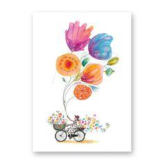 Greetingcard; 'Floral bike'