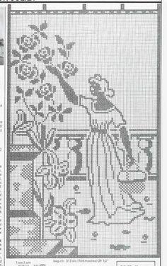 Filet Crochet, Crochet Motif, Crochet Lace, Crochet Hooks, Crochet Patterns, Cross Stitch Silhouette, Crochet Sunflower, Knitting Charts, Cross Stitch Designs