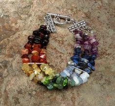 Chakra Balancing Stone Chip Bracelet by PreciousReikiGems, $40.00