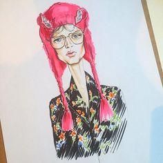 Gucci  #mfw #Gucci #guccigram #illustrator #illustration #pinkhat #hat #alessandromichele @gucci @lallo25 #fashion #fashionillustration