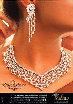 Latest Indian Clothing And Jewellery Designs Bridal Collection, Jewelry Collection, Indian Outfits, Diamond Jewelry, Cool Designs, Jewelry Design, Bride, Earrings, Press Ad