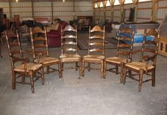 Set of 6 Oak Ladder Back Rush Seated Chairs, Pete's Furniture Barn, Unadilla NY #Country