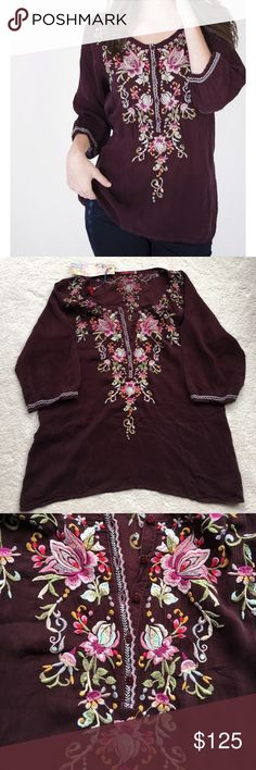 NWT Johnny WAs Moon Blouse in Maroon from 2017 The perfect peasant top for the season is the Johnny Was MOON BLOUSE. Made of the softest rayon and featuring a pretty pastel custom embroidery, this top is gypset cool personified. Add an urban edge by pairing it with a leather legging and boots or, keep it boho with your denims or a maxi skirt. Custom Embroidery Johnny Was Tops