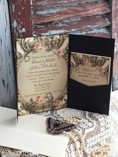 Romantic Elegant Vintage Wedding Invitation by AVintageObsession, $125.00