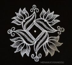 Easy And Beautiful Lotus Rangoli Design Easy Rangoli Designs Videos, Rangoli Side Designs, Simple Rangoli Border Designs, Easy Rangoli Designs Diwali, Rangoli Designs Latest, Rangoli Patterns, Free Hand Rangoli Design, Small Rangoli Design, Rangoli Designs With Dots