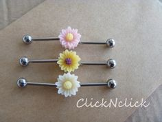 Daisy industrial barbell piercing industrial by ClickNclick, $7.59