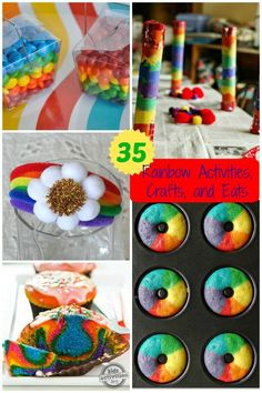 35 Rainbow Activities, Crafts and Eats that bring the whimsy, color and fun of rainbows inside your home- without the grey rain! Rainbow Activities, Rainbow Crafts, Spring Activities, Craft Activities, Preschool Crafts, Fun Crafts, Crafts For Kids, Rainbow Stuff, Children Activities
