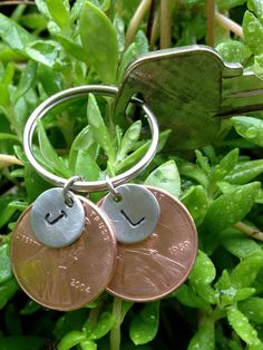 Father's Day Gift Idea! Personalized Hand Stamped Penny Keychain for by SimplyEdgyDesigns, $12.00