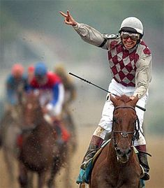 Funny Cide and Jockey Jose Santos Winner of the 2003 Preakness #equine #horse #horselover http://globalhorsecents.com