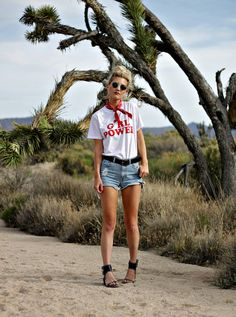 girl power, tee, tshirt, female, female, power, shein, casual, style, summer outfit, inspo, red bandana, outfit, studded sandals, desert, photography, fashion, blogger, denim, shorts, cutoffs, ray-ban, circle lenses, circle sunglasses, the nomis niche,