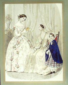 GRAVURE de MODE AUTHENTIQUE-N 57-MAGASIN DES DEMOISELLES-1854