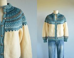Vintage Norwegian Wool Fair Isle Cardigan / Nordic Hand Knit Sweater Cream Turquoise Blue… – Awesome Knitting Ideas and Newest Knitting Models Hand Knitted Sweaters, Sweater Knitting Patterns, Knitting Designs, Baby Knitting, Knitting Sweaters, Norwegian Knitting, Fair Isle Pattern, Knit In The Round, Fair Isle Knitting