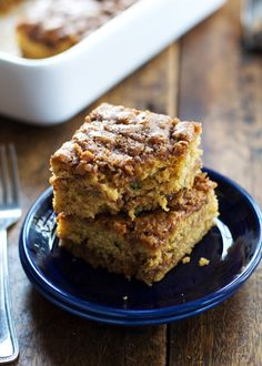 This Cinnamon Sugar Zucchini Coffee Cake is so simple! It takes about 10 minutes to make and has two layers of cinnamon sugar. Mmm.