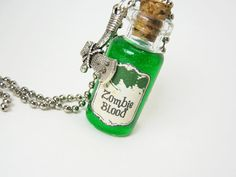 Zombie Blood 2ml Glass Bottle Vial Necklace. $12.50+ on #Etsy.
