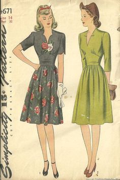 1940s Dress with Scalloped Neck