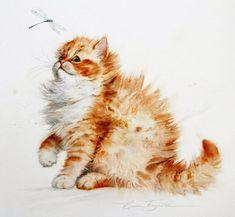 Resultado de imagem para elena bazanova watercolors #CatWatercolor