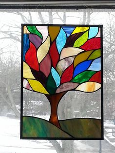 Stained glass Tree, leaded glass, window panel, art deco, st… – Arts and Crafts Victorian Stained Glass Panels, Traditional Stained Glass Panels, Modern Stained Glass Panels, Hanging Stained Glass, Stained Glass Quilt, Tiffany Stained Glass, Stained Glass Flowers, Faux Stained Glass, Stained Glass Designs