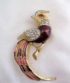 Bird Brooch Red Enamel Rhinestone.