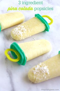 Refreshing pina colada popsicles - so easy to make - just three ingredients! Vegan and gluten free.