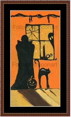 Halloween Artist Canvas Ready To Paint Dracula Black Cat Craft Pattern