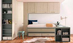 Dormitorio juvenil con dos camas armario rinconero - Disenar habitacion juvenil ...