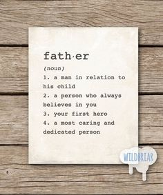 Printable Wall Art Father dictionary definition by WildbriarDesign