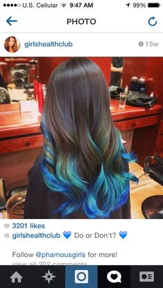black hairt with blue/teal tips/highlights