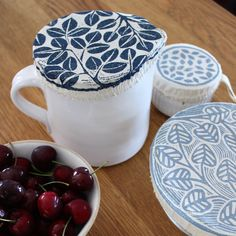 Great for covering jugs and pitchers. Also useful for small snack bowls. Handprinted leaf motif in olive green, storm blue, charcoal grey. Tapas, Snack Bowls, Party Dips, Fish Print, Plastic Wrap, Casserole Dishes, Snacks, Tableware, Cover