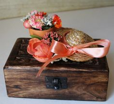 Wedding Ring Box  Rustic Chic  Peach  by ForeverDenimandLace, $32.00