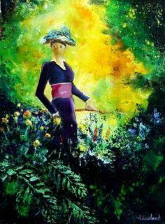 walking in the garden, painting by artist Pol Ledent