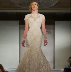 Vintage Lace Wedding Dress with Deep V Back and Cap by Whitesrose, $460.00