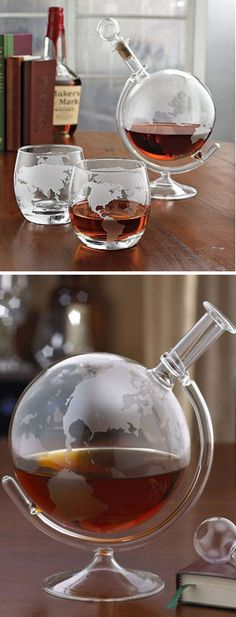 Etched Glass Globe Spirits Decanter. Gift for him.