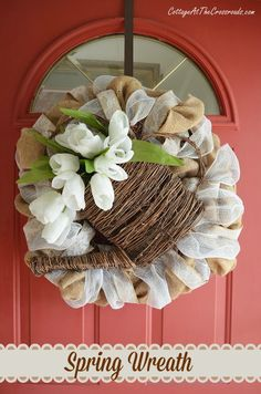 A Neutral Spring Wreath - Cottage at the Crossroads