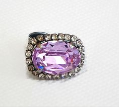 Swarovski crystal 18X13mm oval fancy stone ring violet and clear crystal #Swarovski