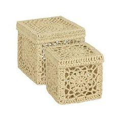 pulcsiból - nagy cipósdoboz, karton óriási láda - Cajitas de crochet en Zara Home Crochet Bowl, Crochet Basket Pattern, Knit Basket, Crochet Art, Crochet Gifts, Crochet Motif, Crochet Doilies, Crochet Stitches, Cute Crochet