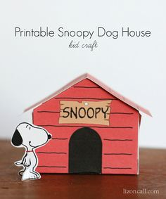 Printable Snoopy Dog house - a fun craft to do with the kids. Plus 10 more recipe and craft ideas to get them excited about the new Peanuts movie. - lizoncall.com