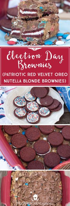 Election Day Brownies, Election Day Dessert Recipe, Patriotic Dessert, Patriotic Brownies, Red Velvet Oreo Nutella Brownies