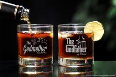 Personalized Godparent Whiskey Glass Set